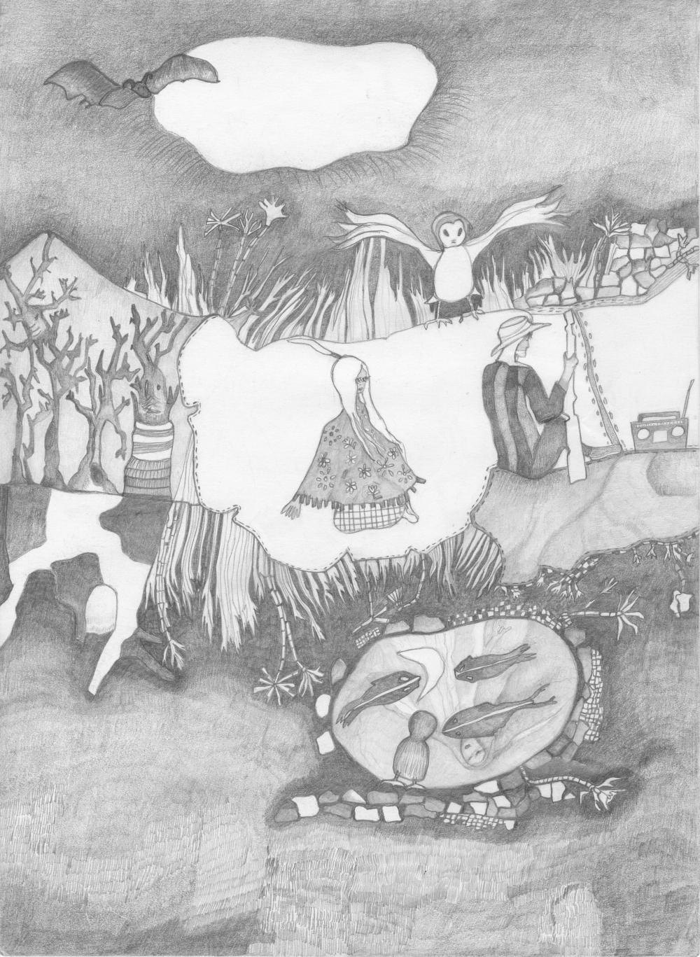Dessin au crayon gris d'Émilie Danchin
